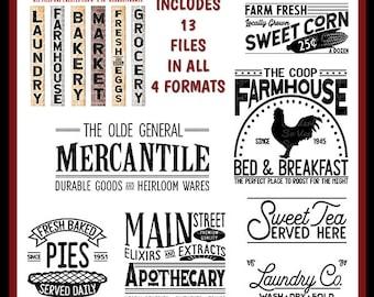 Vintage Farmhouse Sign Bundle   13 Designs   Cutting Files   Printables    svg   eps   png   dxf   Sweet Tea   Mercantile   Apothecary   B&B