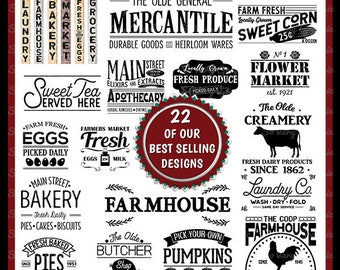 Vintage Farmhouse Sign Bundle | 22 Designs | Cutting Files | Printable | svg | eps | png | dxf | Creamery | Farmers Market | Laundry | Eggs