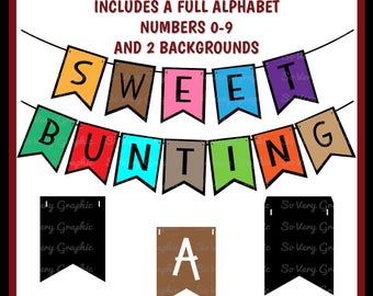 Sweet Bunting Set Bundle   Full Alphabet   Numbers   Cutting Files   Printable   svg   eps   dxf   png   Garland   Pennant   DIY Banner