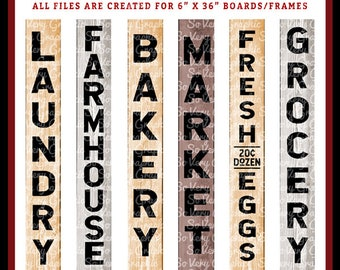 Vintage Farmhouse Vertical Sign Bundle   6 Designs   Cutting Files   Printable   svg   eps   png   dxf   Laundry   Bakery   Market   Grocery