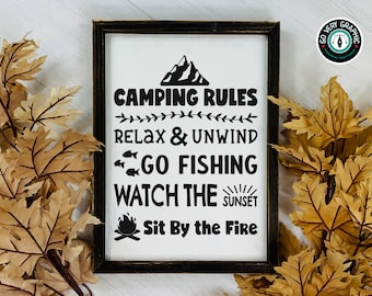 Camping Rules Sign | SVG Design for Cricut Silhouette Scan N Cut