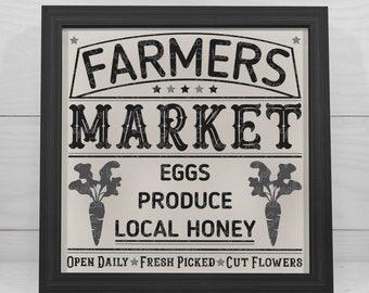 Farmers Market Sign 18   Cutting & Printable File   Digital Instant Download   svg   eps   dxf   png   Vintage   Farmhouse   Eggs   Honey