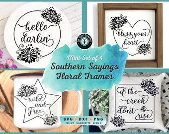 Southern Sayings Floral Frames SVG Design Bundle for Cricut Silhouette Scan N Cut