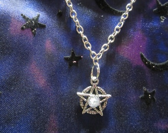 e210381c5 Pentagram Swarovski Crystal Necklace, Fancy Five Pointed Star Chain  Necklace with Crystal, Pagan Jewelry, Wiccan Jewelry, Fancy Pentagram
