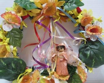 Beltane Wreath, Spring Fairy Wreath, Wreath for Beltane, May Pole Fairy Wreath, Spring Decor Wreath, Beltane Fairy Wreath with Maypole