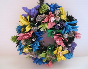 Painted Pinecone Summer Wreath, Wall Pinecone Wreath Decor, Summer Wreath Decor, Home Decor , Pinecone Flowers Summer Colored Wreath Decor