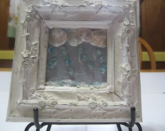 Gemstone Art Picture, Rainy Day Picture with Gemstones, Vintage Picture Antique Look Frame with Shells and Gemstones, Wall Art, Home Decor