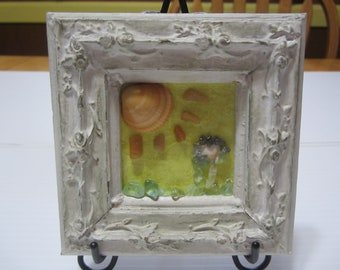 Gemstone Picture Art in Vintage Frame, Wall Decor with Gemstones, Home Decor Gemstone Art on Easel, Sunny Day Gemstone Picture, Get Well Art