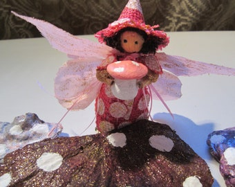 Mushroom Fairy, Fairy Garden Decor, Garden Fairy, Fairy Garden Witch, Pink Polka Dot Fairy, Spring Fairy, Summer Fairy, Collectable Fairy