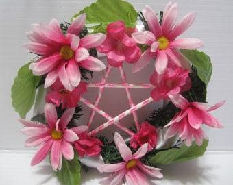 Wiccan Spring Wreath, Pentagram Spring Wreath, Pagan Wreath for Spring, Wreath with Pentacle,Ostara Wreath, Spring Equinox Wreath, Pagan