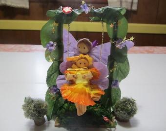 Fairies on a Swing, Corn Doll Fairies, Fairy Decor, Spring Fairies, Fairies Playing, Garden Fairy Dolls, Fairy Garden Accessories, Dolls