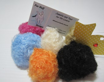Six Catnip Balls, Knit Catnip Fur Ball Toys, Cat Toys, Cat Supplies, Cat Gifts, Toys for Cats, Cat Accessories, Balls for Cats, Cat Items