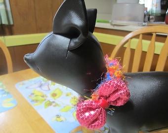 Knit Pet Collar, Pink Bowtie Cat Collar, Dog Collar, Collar for Small Dog, Soft Pet Collar, Flexible Cat Collar, Pet Accessories, Pet Supply