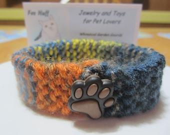 Knit Pet Collar, Pet Collar with Paw Print Button, Soft Cat Collar, Flexible Pet Collar, Soft Small Dog Collar, Knit Collar for Cats, Pets