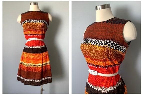 1960s Vintage Barkcloth Dress