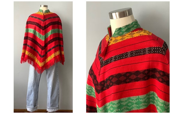 1970s Vintage Handwoven Cotton Poncho