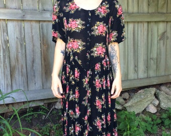 1980s Black Rayon Floral Print Dress