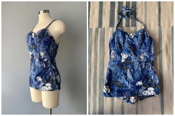 1950s Vintage Catalina Blue Cotton Floral Swimsuit