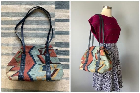 1980s Vintage Wool Kilim Carpet Bag