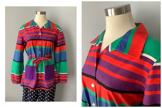 1970s Vintage Rainbow Stripe Tie Waist Cotton Tuni