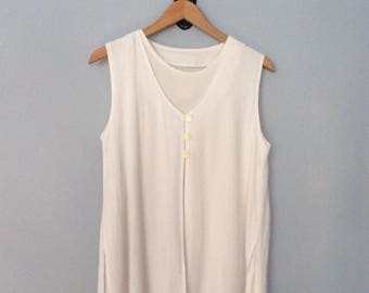 1990s White Tank Top Layered Crinkle Rayon