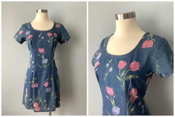 1980s Vintage Tulip Print Denim Mini Dress