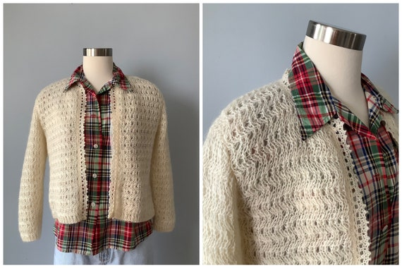 1960s Vintage Cream Lined Mohair Cardigan Sweater
