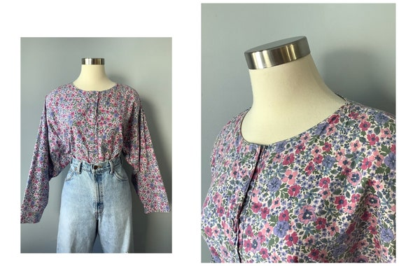 1990s Vintage Floral Cotton Blouse