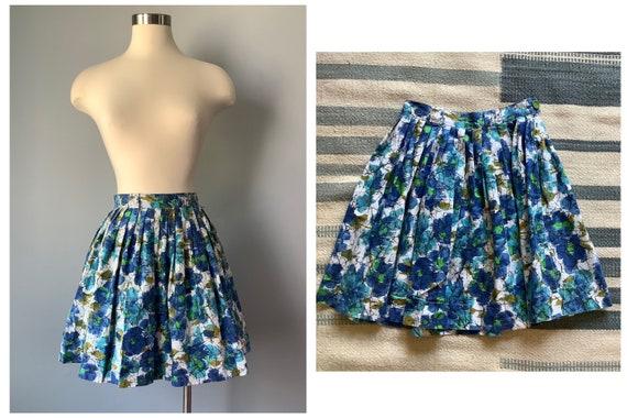 1950s Vintage Floral Print Cotton Skirt