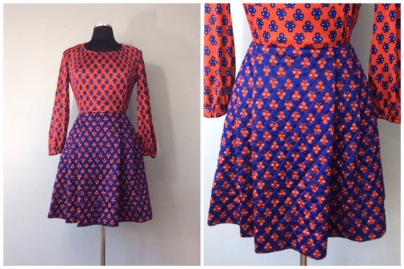 1960s Vintage Long Sleeve Mini Dress with Quilted