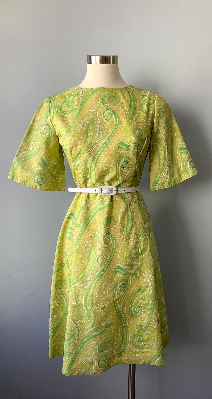 1960s Vintage Yellow Paisley Dress