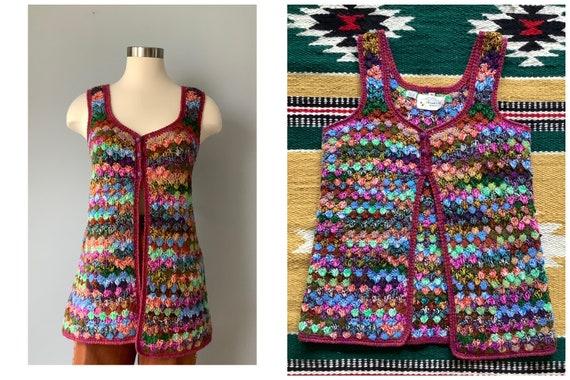 1970s Vintage Multicolor Crochet Sweater Vest
