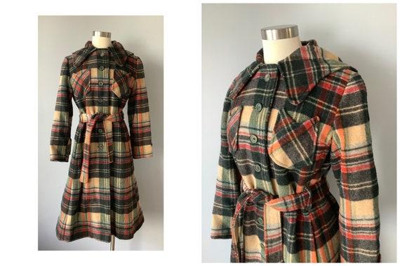 1970s Vintage Plaid Wool Hooded Princess Coat