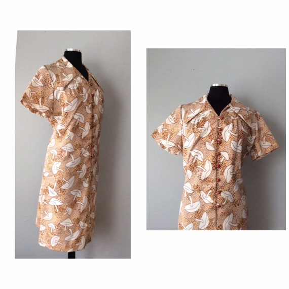 1970s Vintage Magic Mushroom Shirt Dress