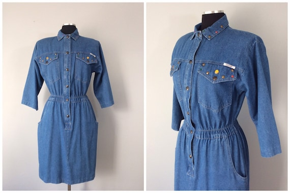 1980s Vintage Ideas Studded Denim Shirt Dress