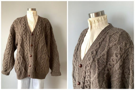 1980s Vintage Wool Cable Hand Knit Cardigan