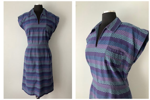 1940s Vintage Rayon Zig Zag Stripe Day Dress | 194