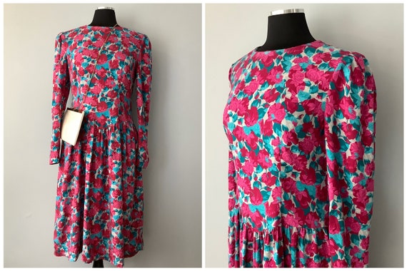 1980s Vintage Rose Print Drop Waist Long Sleeve Dr