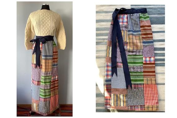 1970s Vintage Wool Patchwork Maxi Wrap Skirt