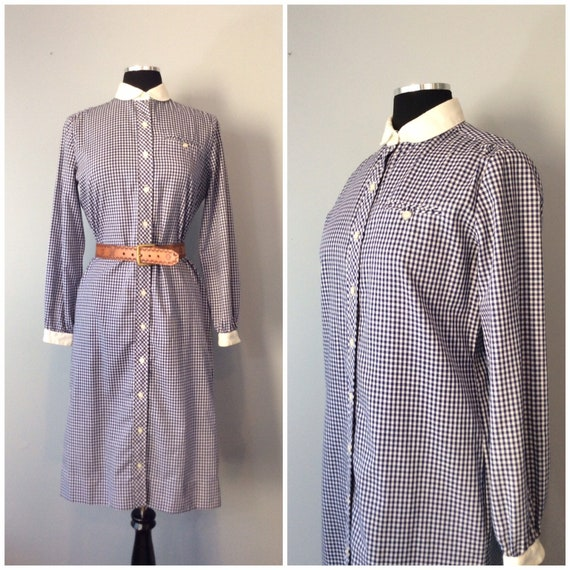 Vintage Serbin Muriel Ryan Blue and White Gingham