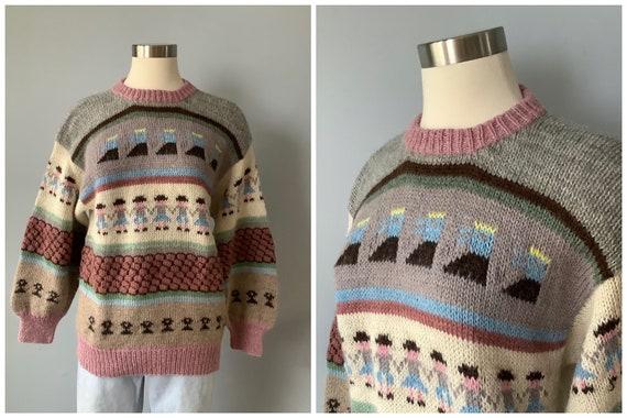 1980s Vintage Wool Alpaca Folk Sweater