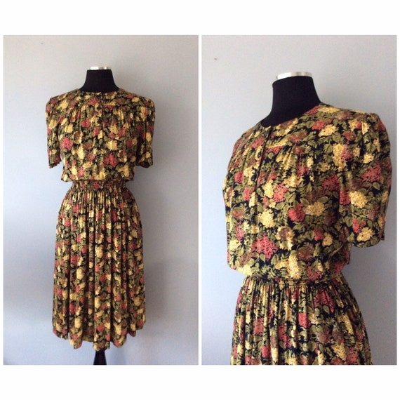 1980s Vintage Fall Florals Rayon Dress