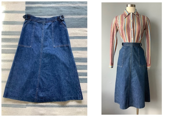 1970s Vintage Blue Jean Cotton Denim Wrap Skirt