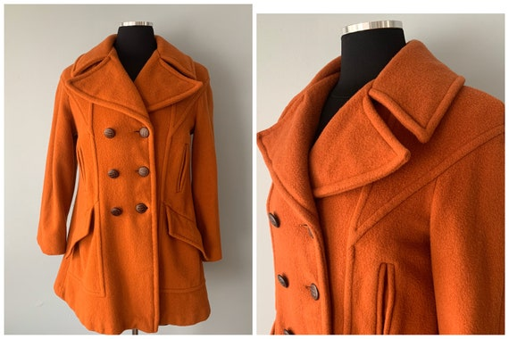 1970s Vintage Terra Cotta Wool Pea Coat