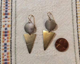 1980s Dangly Geometric Earrings