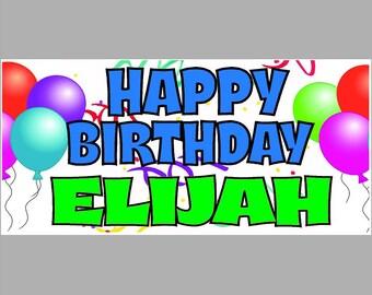 Happy Birthday Banner, 2' x 3' 13 oz Vinyl Birthday Banner, Full Color Banner,