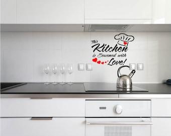Vinyl Kitchen Decal, This Kitchen is seasoned with love, Kitchen Wall Art, Kitchen Quote