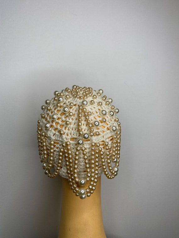 Vintage Pearl Drop Crochet Skull Cap - image 5