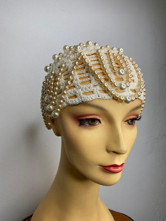 Vintage Pearl Drop Crochet Skull Cap - image 3