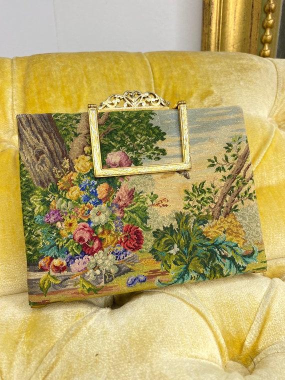 Vintage Needlepoint Tapestry Formal Bag